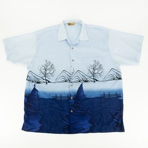 In Gear Button Front Shirt Front Back Graphic Blue